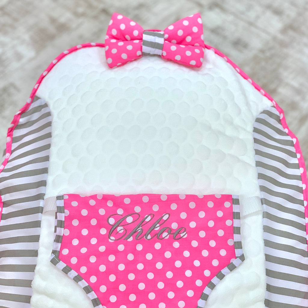 Personalised Grey Stripe And Pink Polka Dot Baby Bean Bag