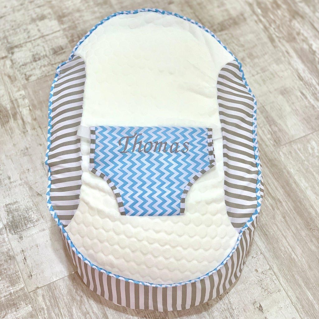Personalised Grey Stripe And Blue ZigZag Baby Bean Bag