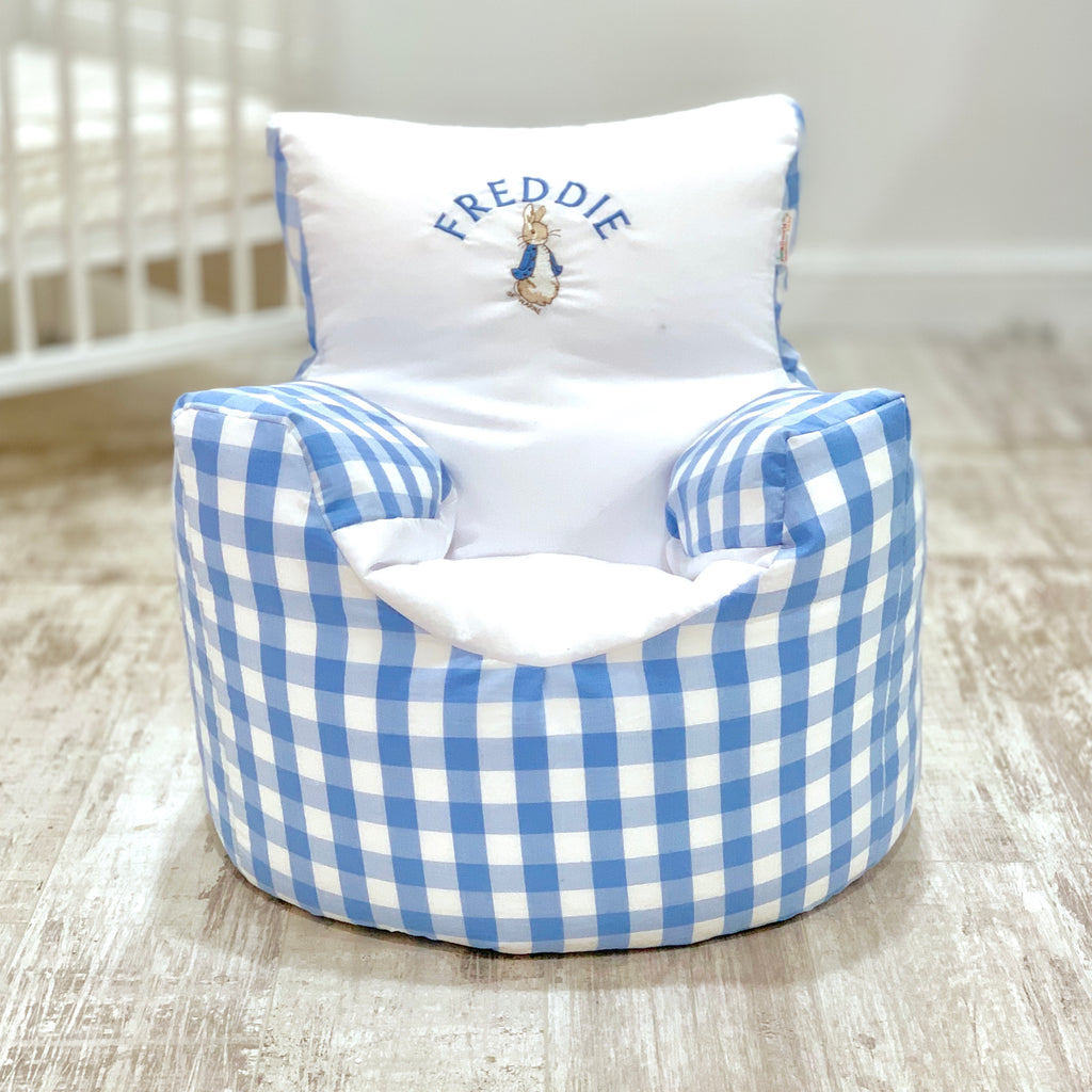 Personalised Blue Gingham Peter Rabbit Bean Bag Chair