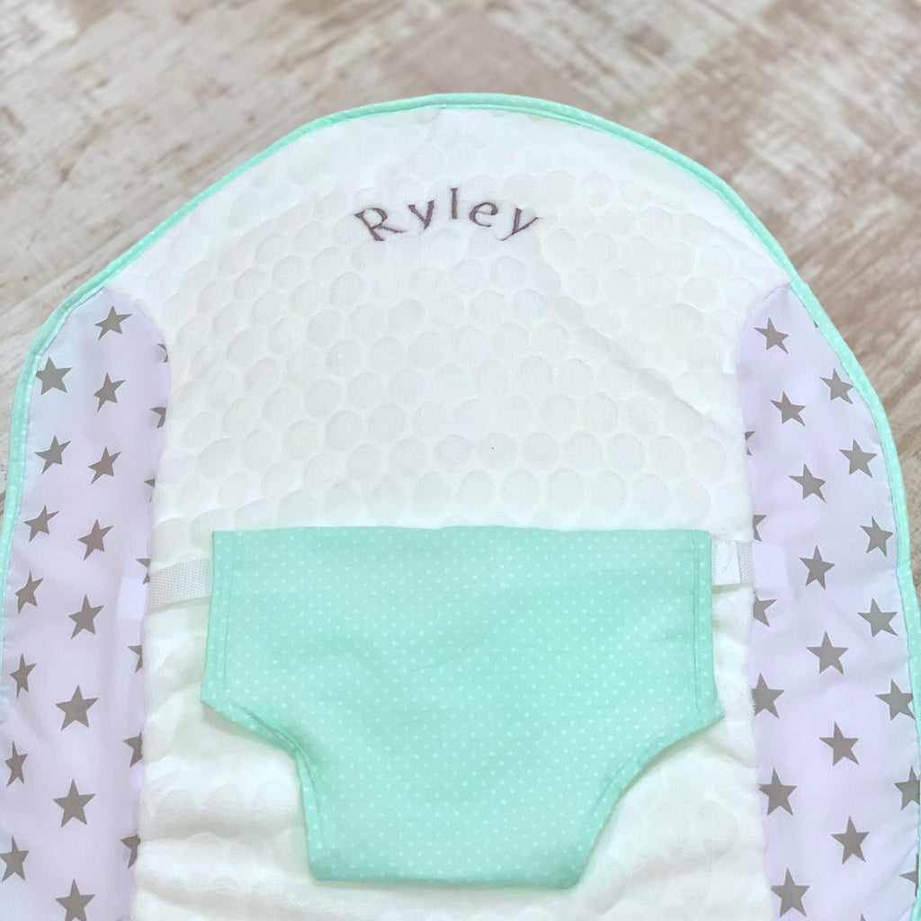Personalised Grey Star And Mint Green Polka Dot Baby Bean Bag