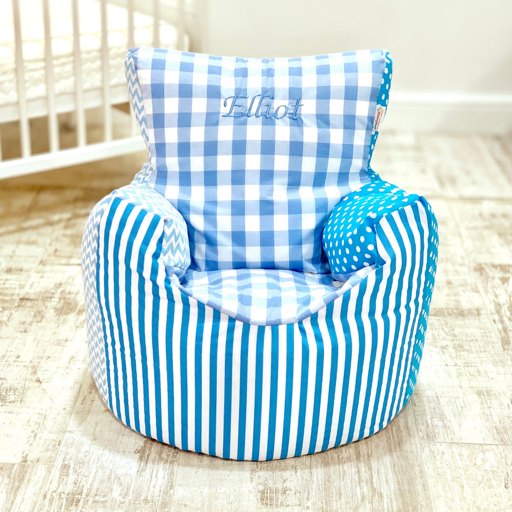 Personalised Blue Patchwork Bean Bag Chair