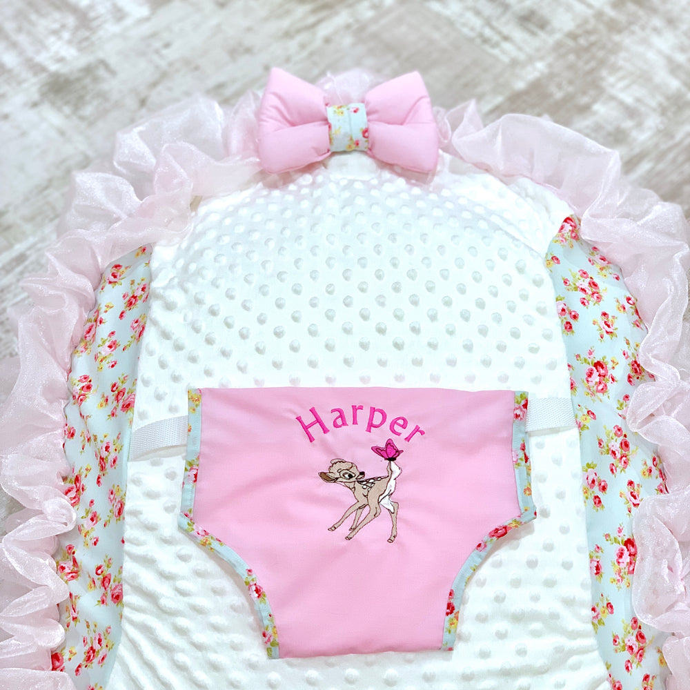 Personalised Meadow And Pink Frill Bambi Baby Bean Bag