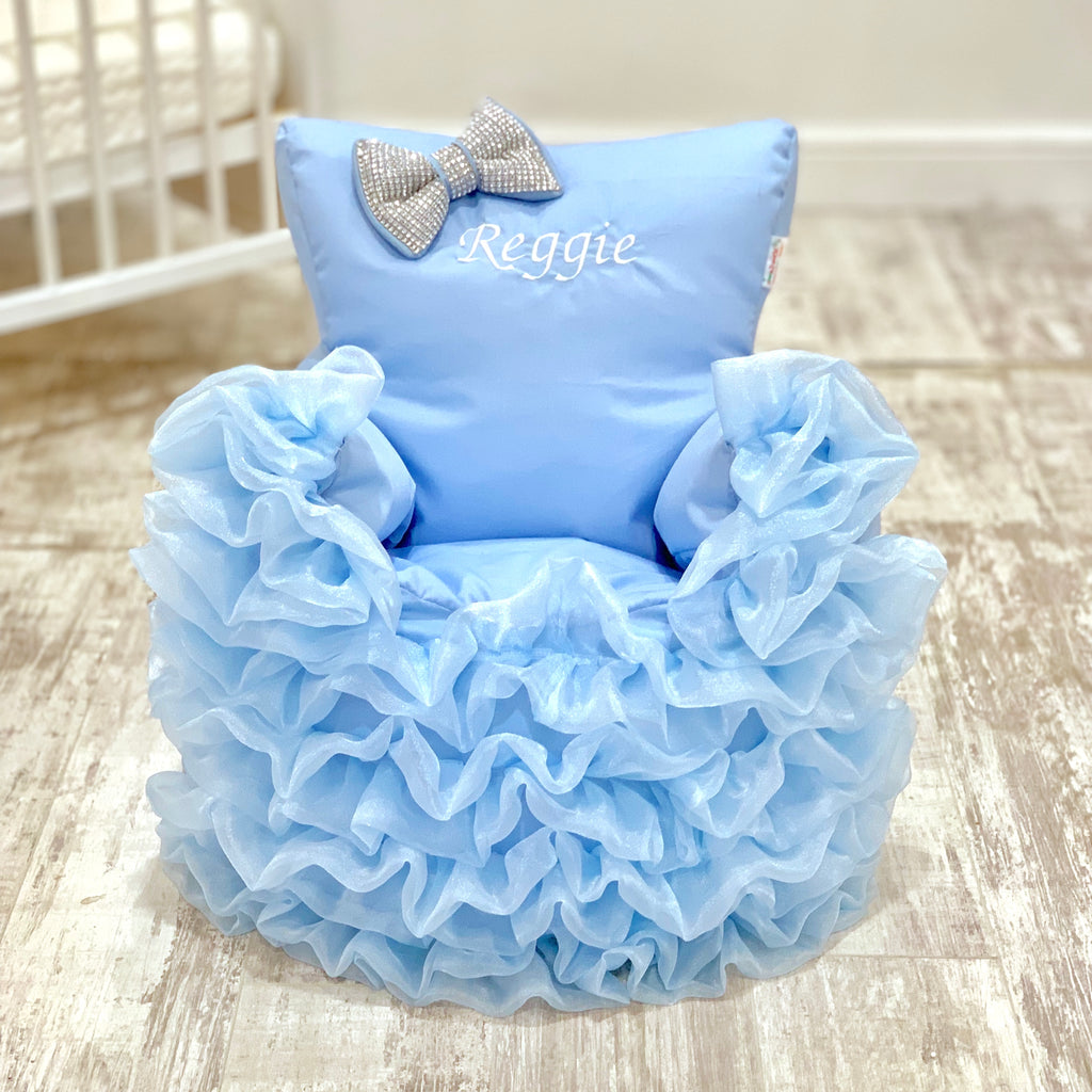 Personalised Blue Frilly Bling Bean Bag Chair