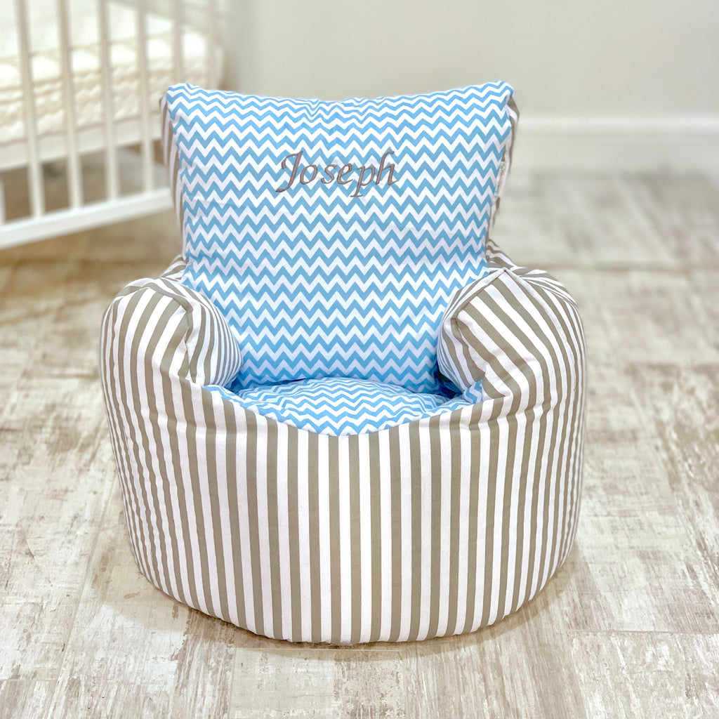 Personalised Grey Stripe And Blue ZigZag Bean Bag Chair