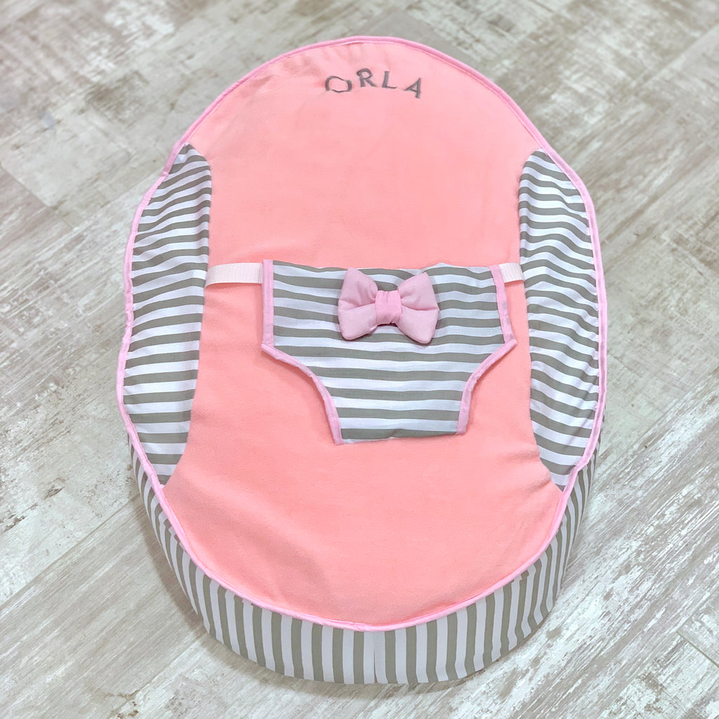 Personalised Grey Stripe And Pink Baby Bean Bag