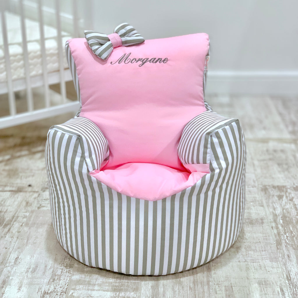 Personalised Grey Stripe And Pink Bean Bag Chair