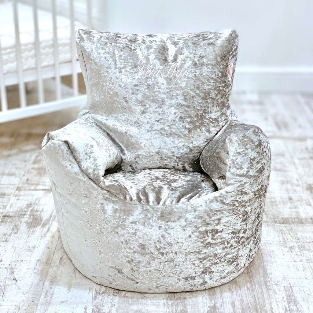 Personalised Silver Crushed Velvet Bean Bag Chair