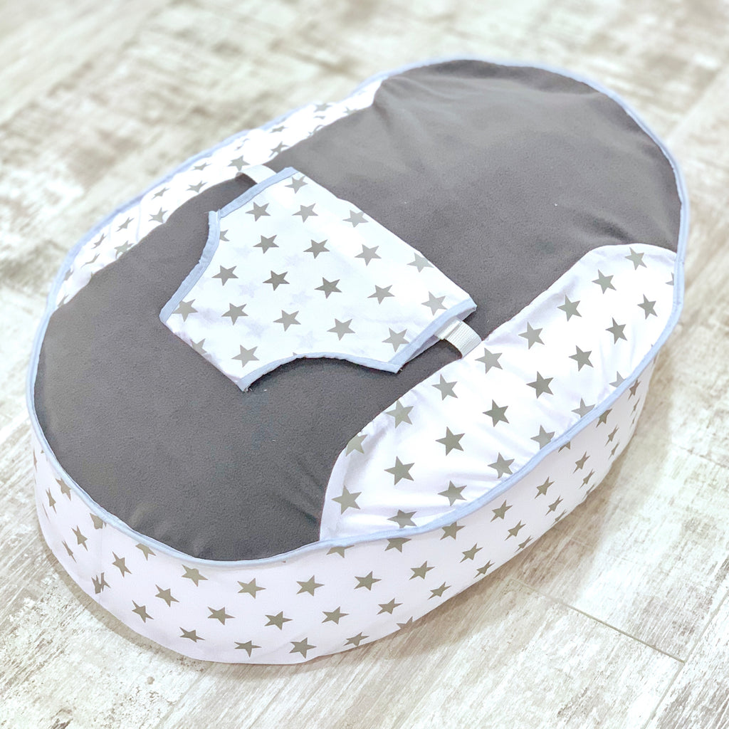 Personalised Grey Fleece And Grey Star Baby Bean Bag