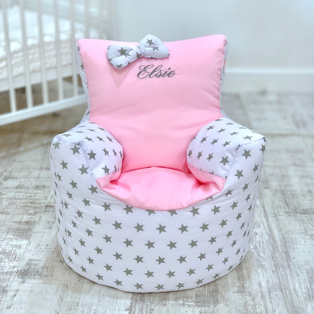 Personalised Pink And Grey Star Bean Bag Chair