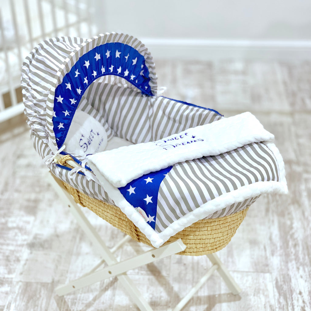5 Piece Grey Stripe And Royal Star Moses Basket Set