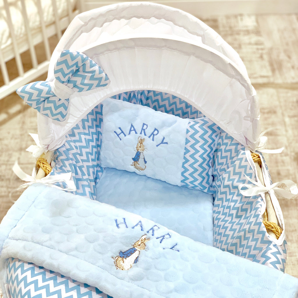 Personalised 5 Piece Peter Rabbit Moses Basket Set