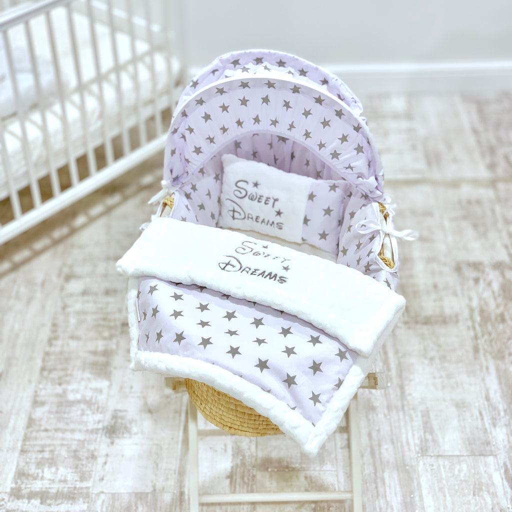 Personalised 5 Piece Grey Star Moses Basket Set
