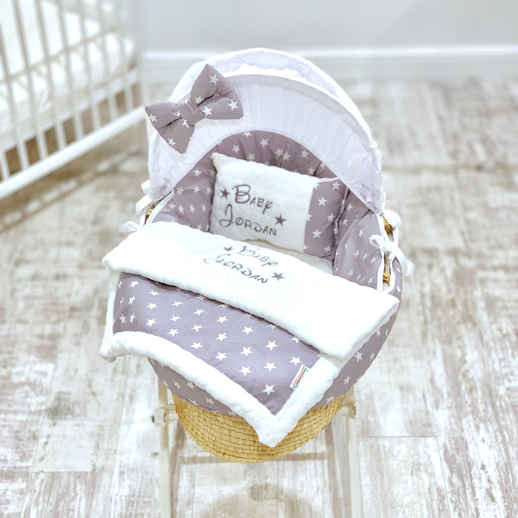 Personalised 5 Piece Grey With White Star Moses Basket Set