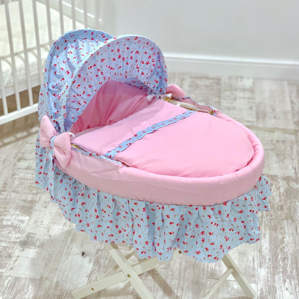 Personalised Sky Floral Skirted Moses Basket Set