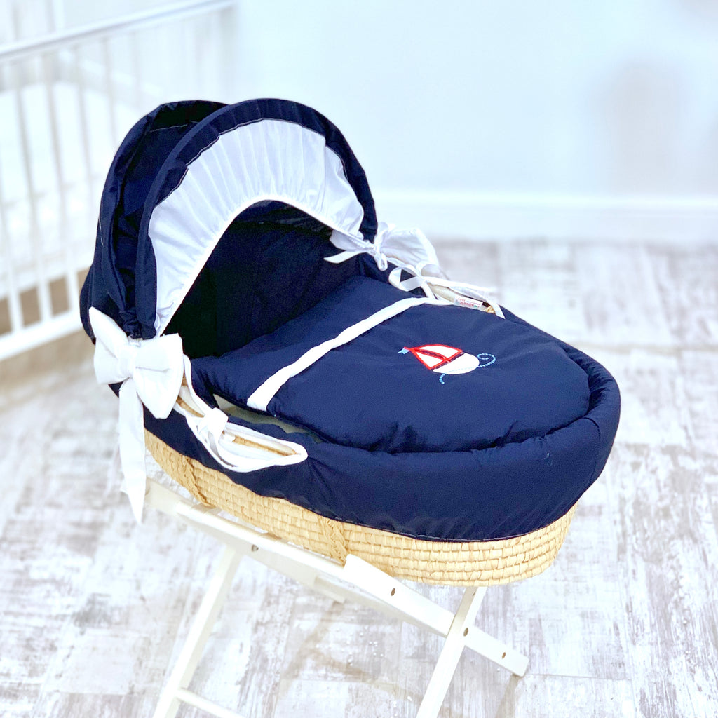 Personalised Navy Sailor Moses Basket Set