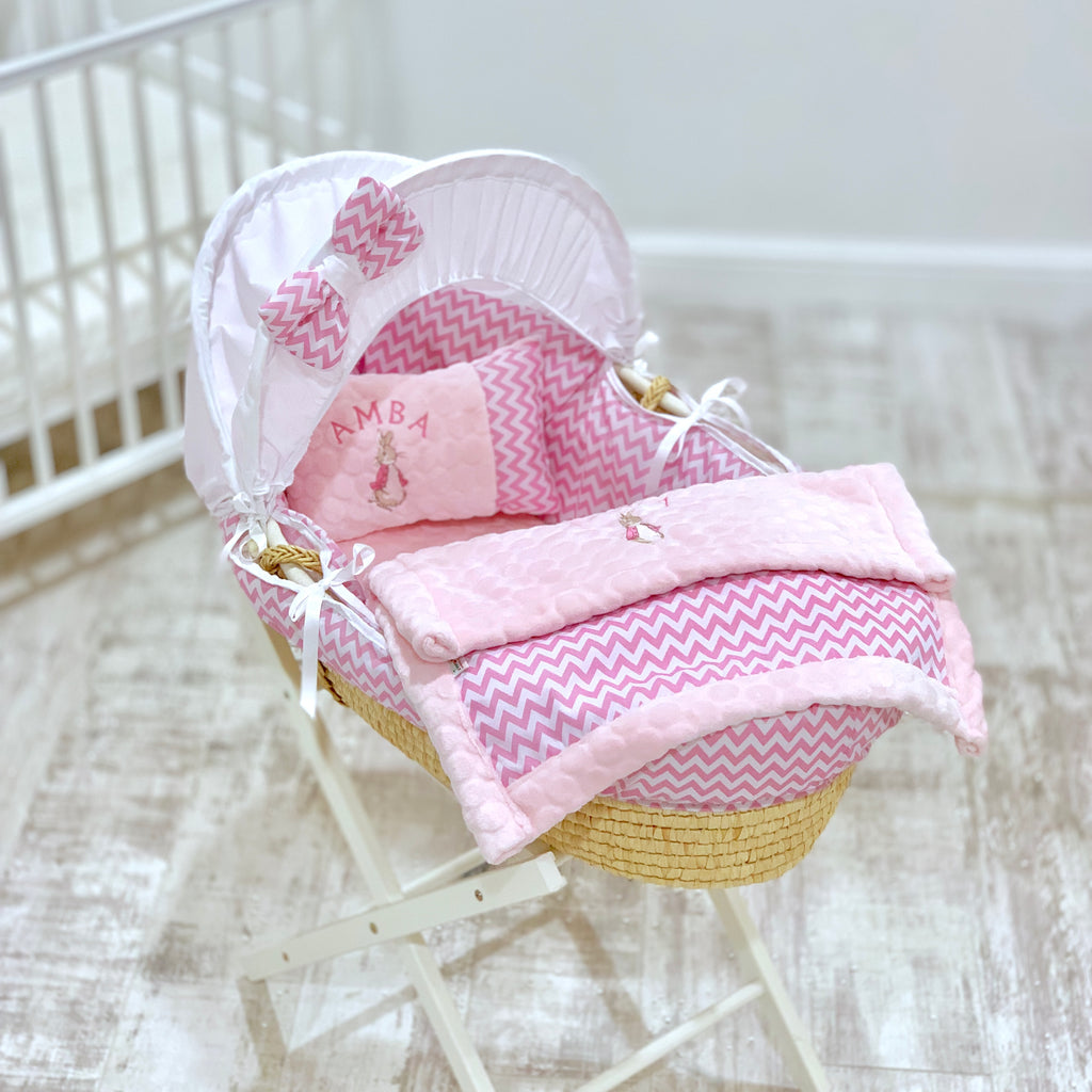 Personalised 5 Piece Pink Peter Rabbit Moses Basket Set