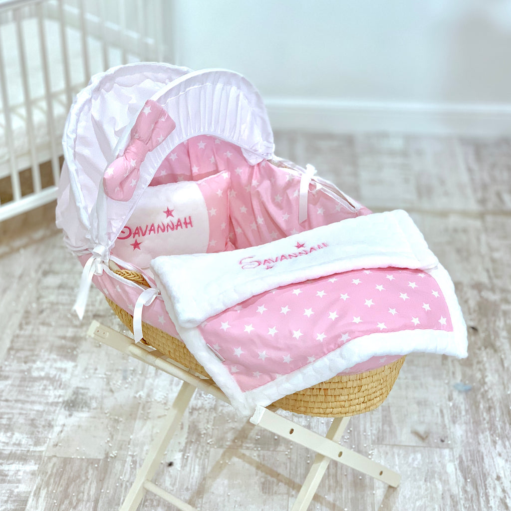 Personalised 5 Piece Pink Star Moses Basket Set