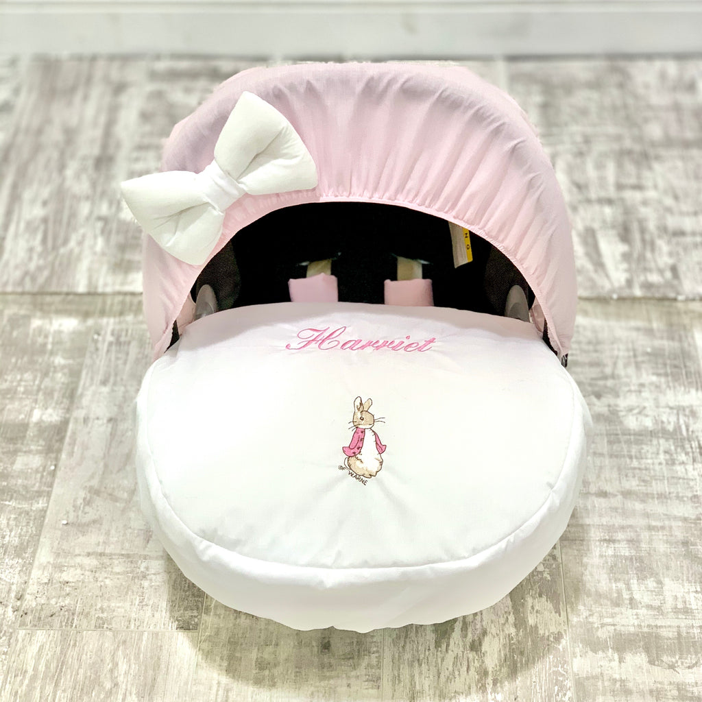 Personalised Pink Peter Rabbit Car Seat Cover