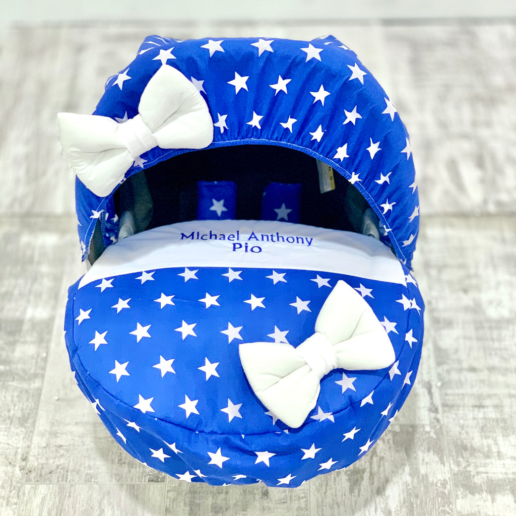 Personalised Royal Blue And White Star Car Seat Cover