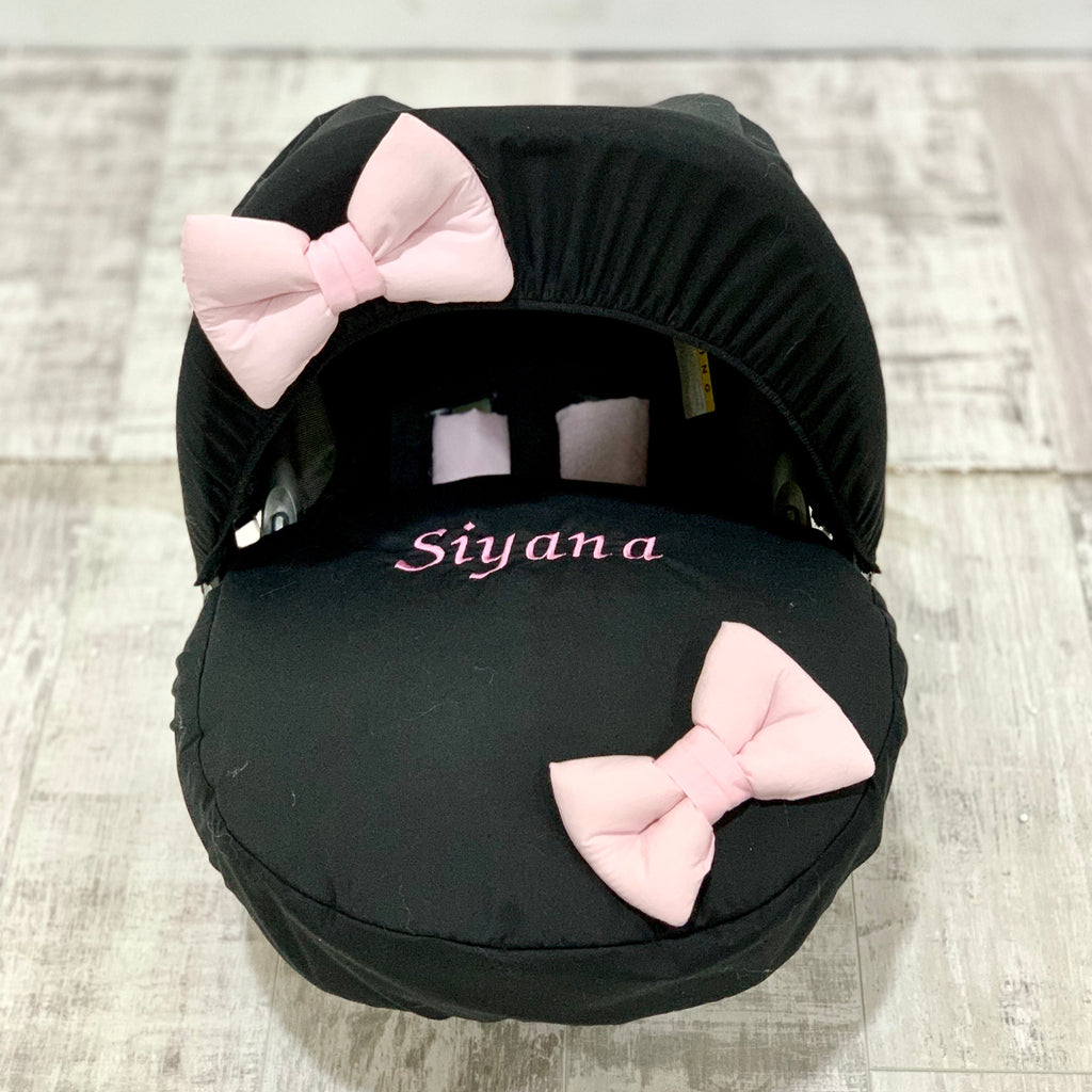 Personalised Black With Pink Bow Car Seat Cover