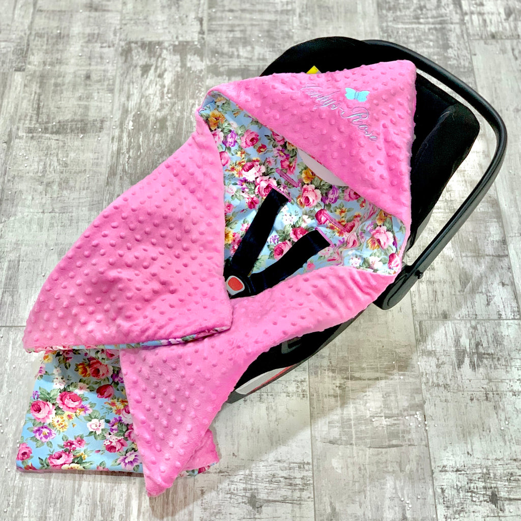 Personalised Cerise Pink Dimple And Vintage Floral Car Seat Swaddle Blanket