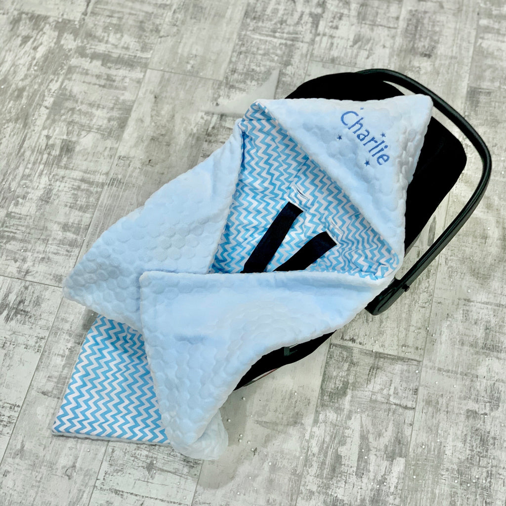 Personalised Blue Bubble Fleece And Blue Zigzag Car Seat Swaddle Blanket