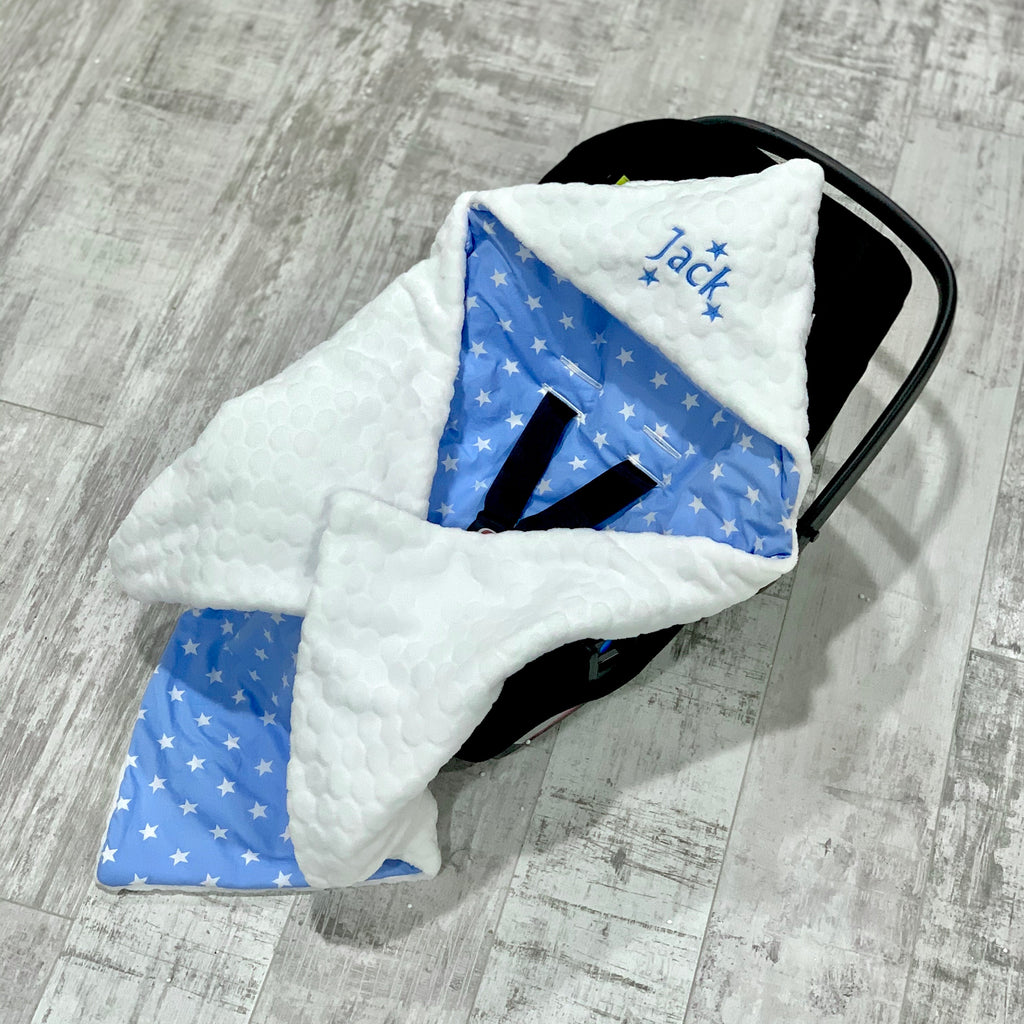 Personalised White Bubble Fleece And Blue Star Car Seat Swaddle Blanket