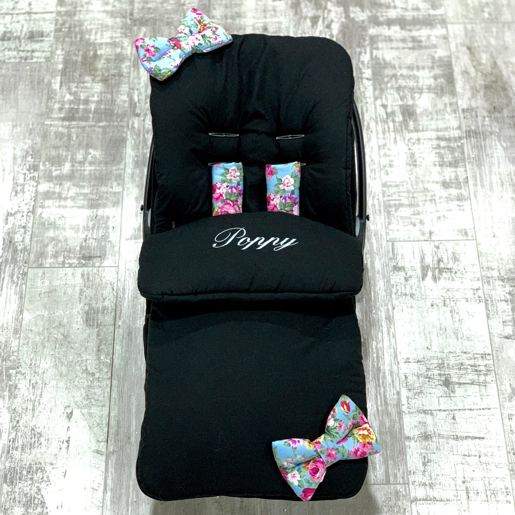 Personalised Black With Vintage Floral Bow Footmuff