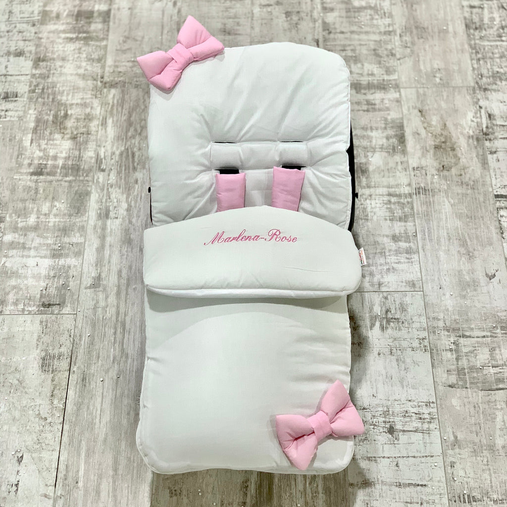 Personalised White With Pink Bow Foot Muff