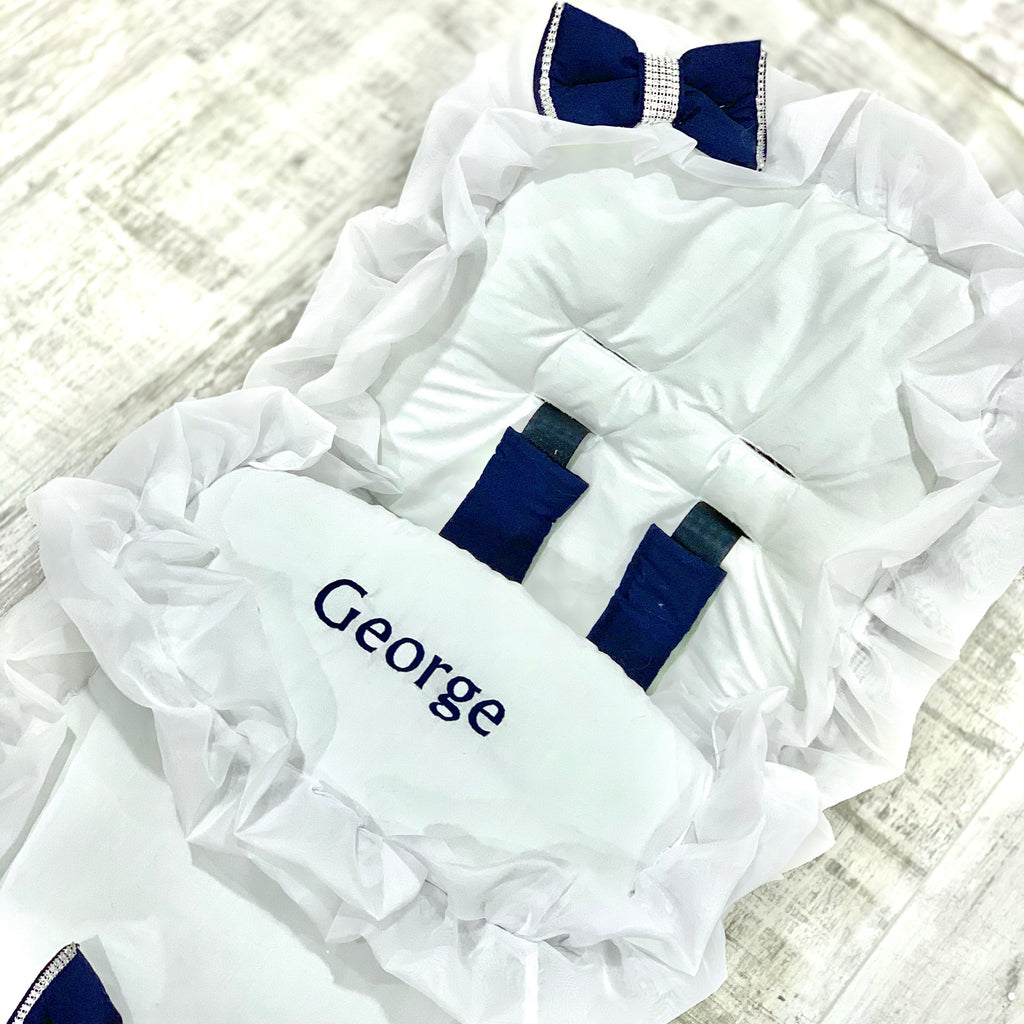 Personalised White Frilly Bling Navy Bow Footmuff