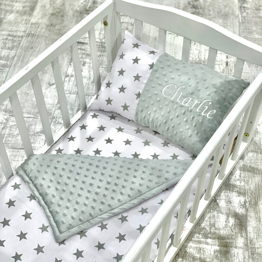 Personalised Luxury Grey Dimple And Grey Star Cot/Cotbed Bedding Set