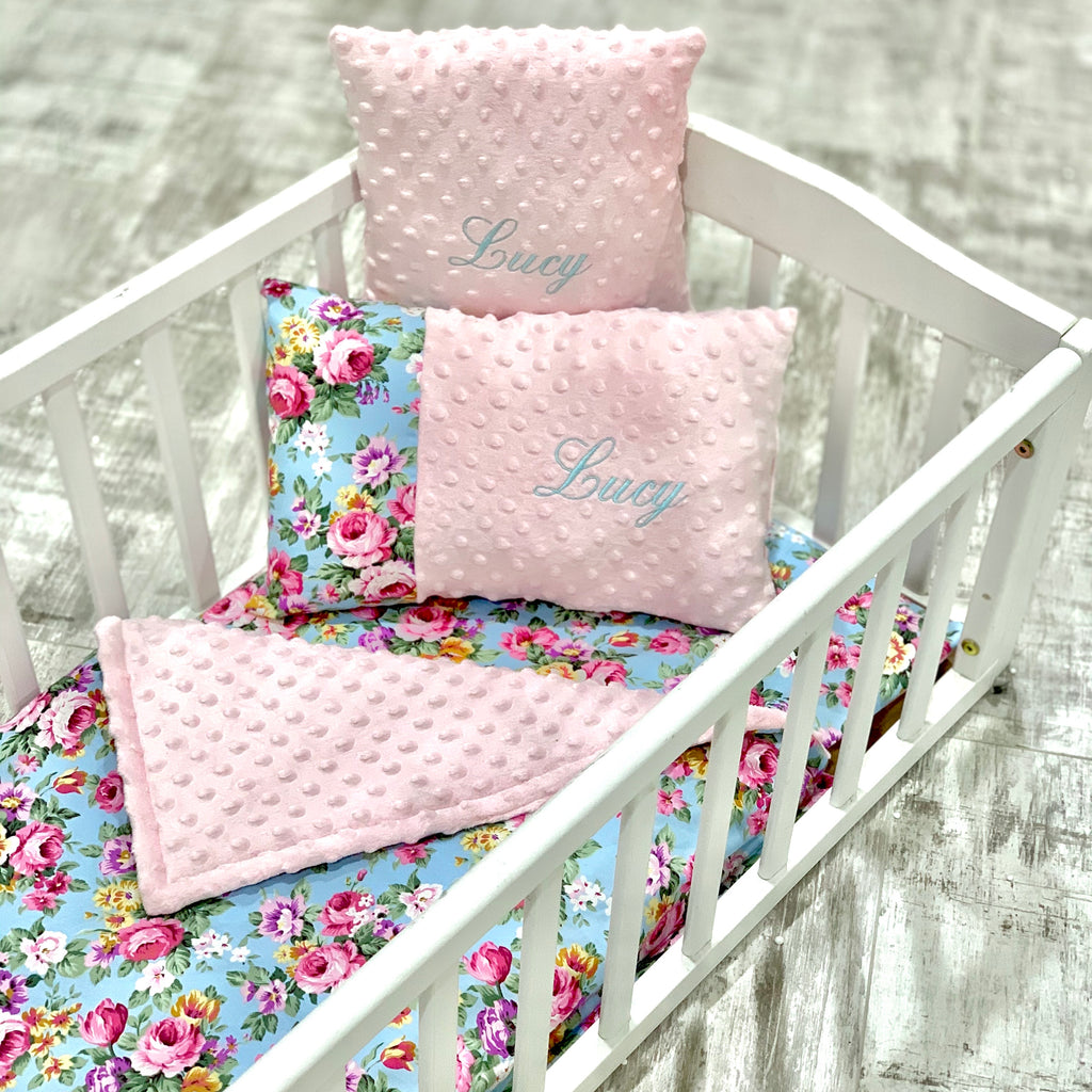 Personalised Luxury Pink Dimple And Vintage Floral Crib Bedding Set