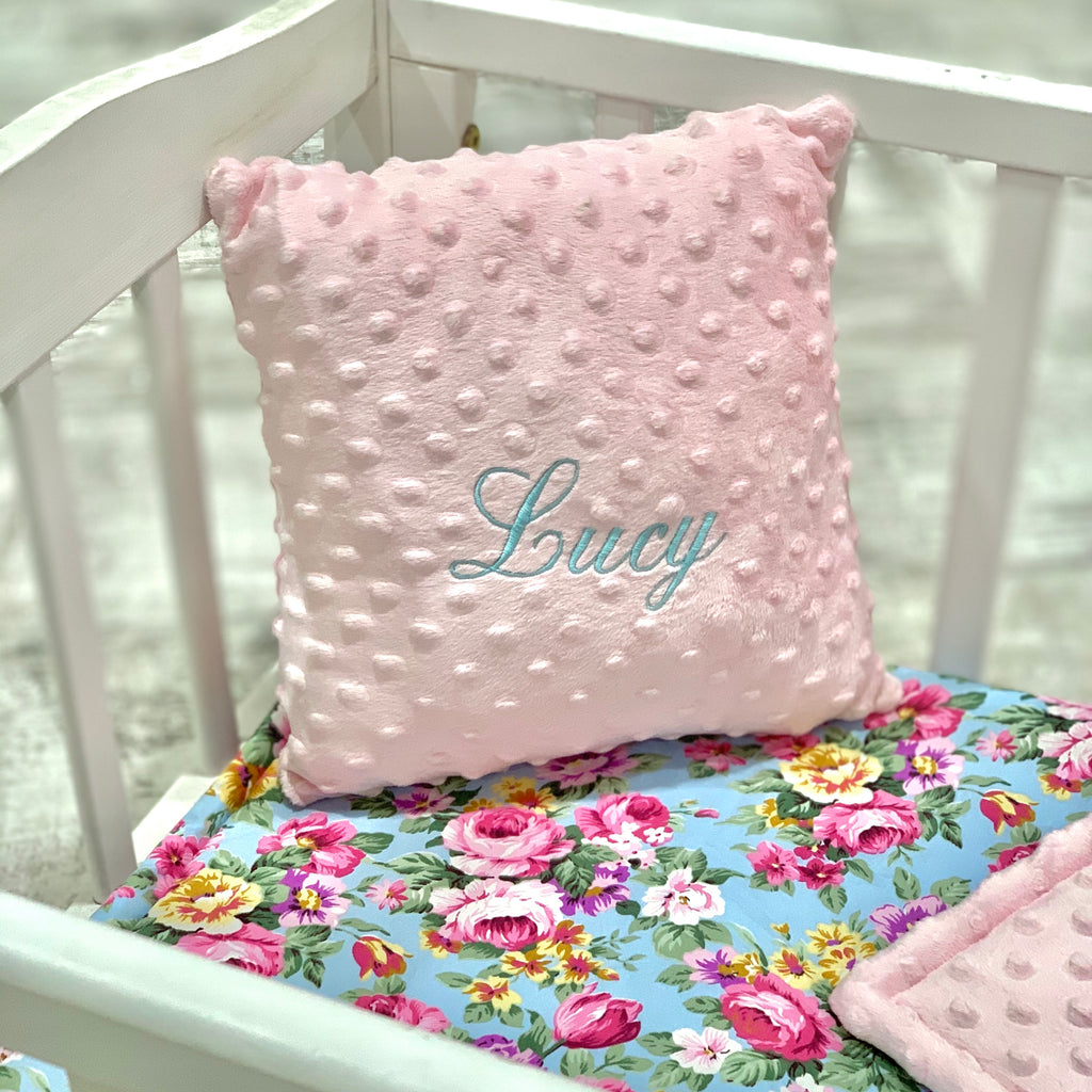 Personalised Luxury Pink Dimple And Vintage Floral Cot/Cotbed Bedding Set