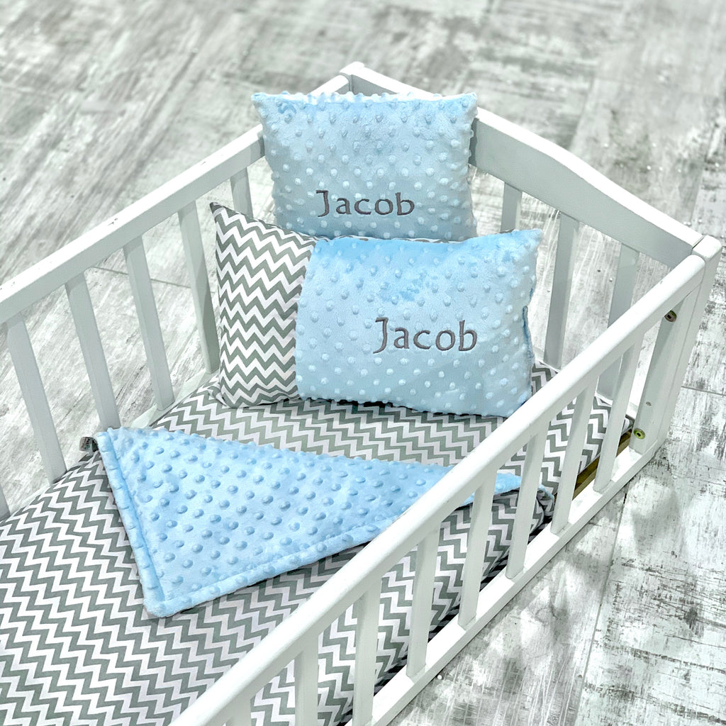 Personalised Luxury Blue Dimple And Grey Zigzag Crib Bedding Set