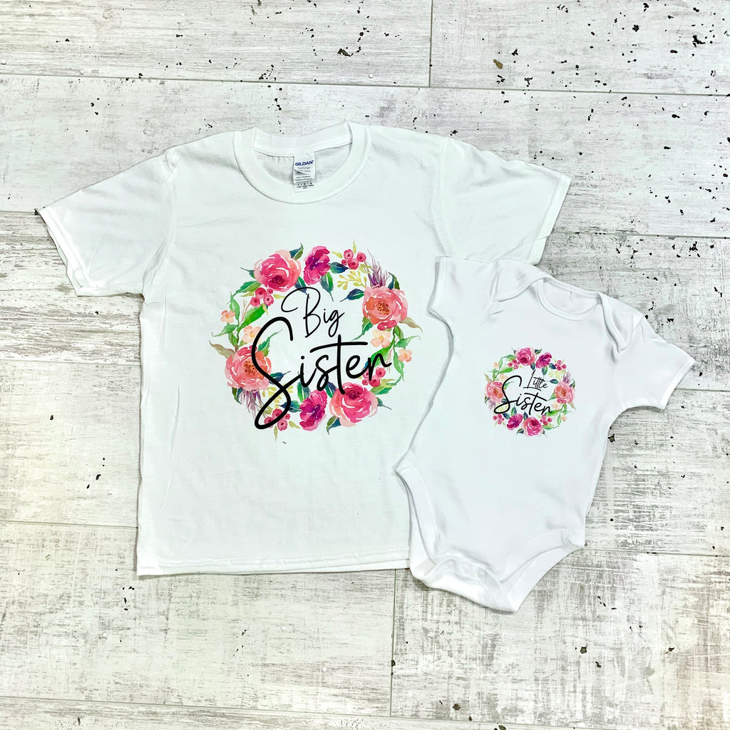 Matching Big Sister/Little Sister Floral T-Shirt/Vest Set