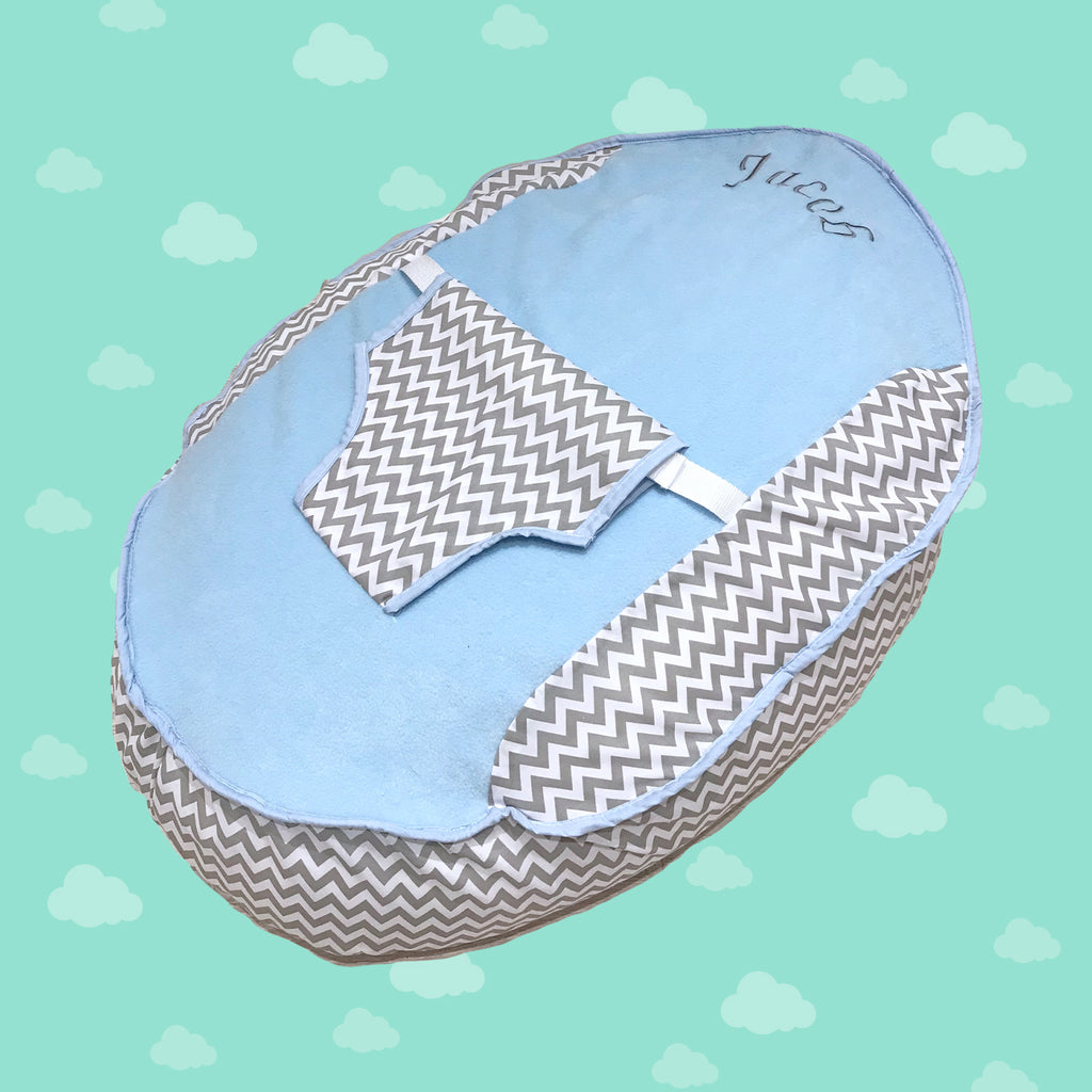 Personalised Grey ZigZag And Blue Fleece Baby Bean Bag