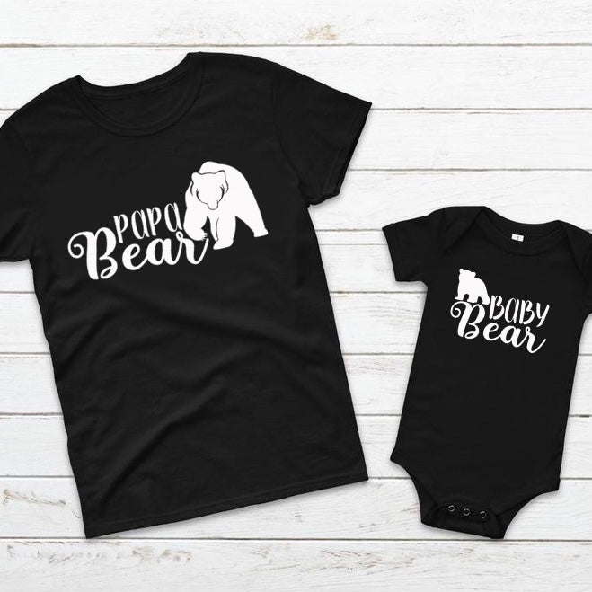 Matching Papa and Baby Bear T-Shirt And Vest Set