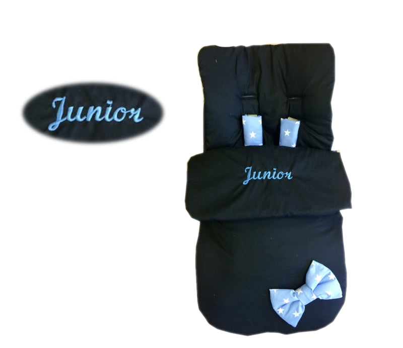 black blue star bow footmuff