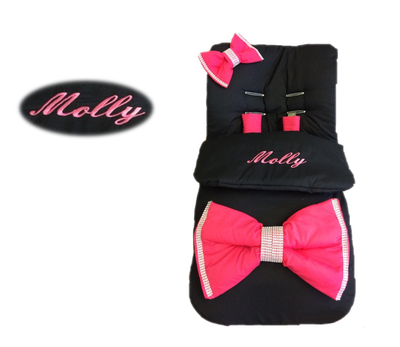 black-extra-large-cerise-bling-bow-footmuff