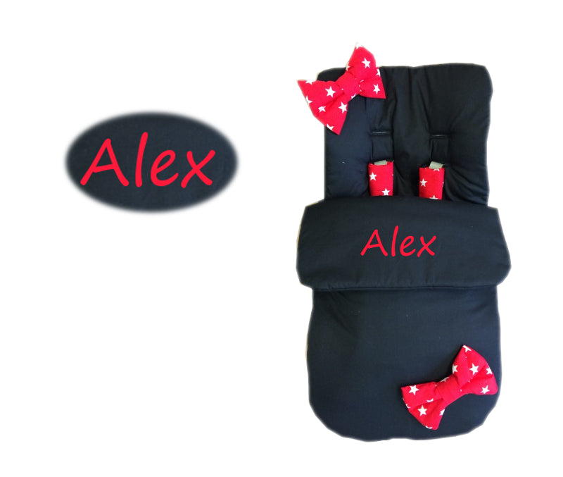 Personalised Black With Red Star Bow Footmuff