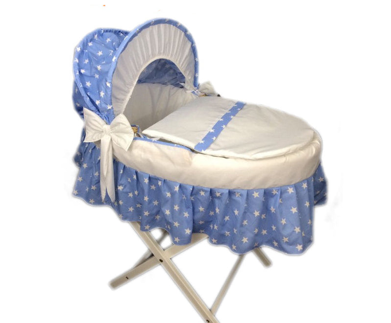 Personalised Blue Star Skirted Moses Basket Set
