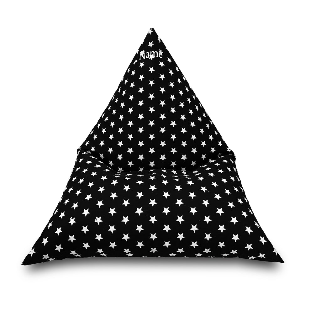 Personalised Black Star Children's Triangle Bean Bag