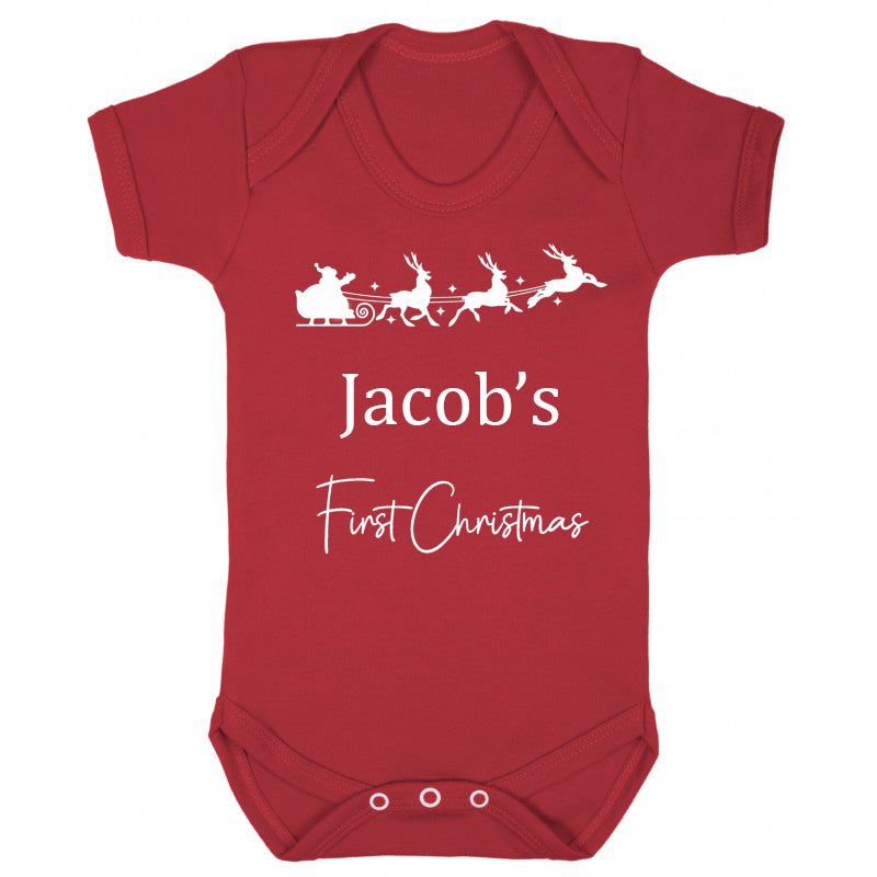 Personalised First Christmas Baby Vest