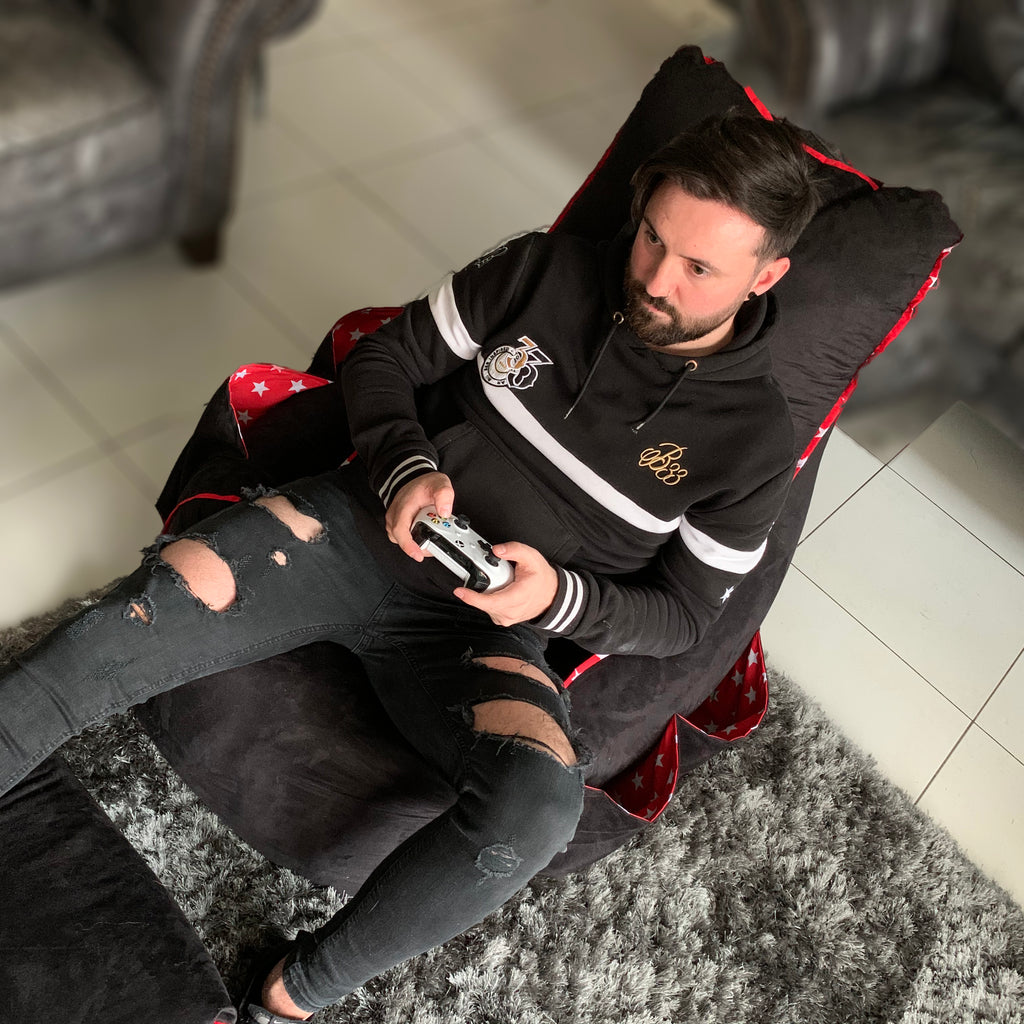 Personalised Black Suede Gaming Bean Bag Chair