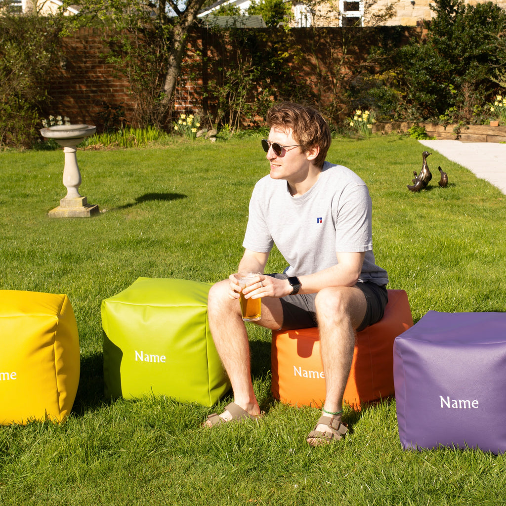 Personalised Leatherette Garden Bean Bag Cube