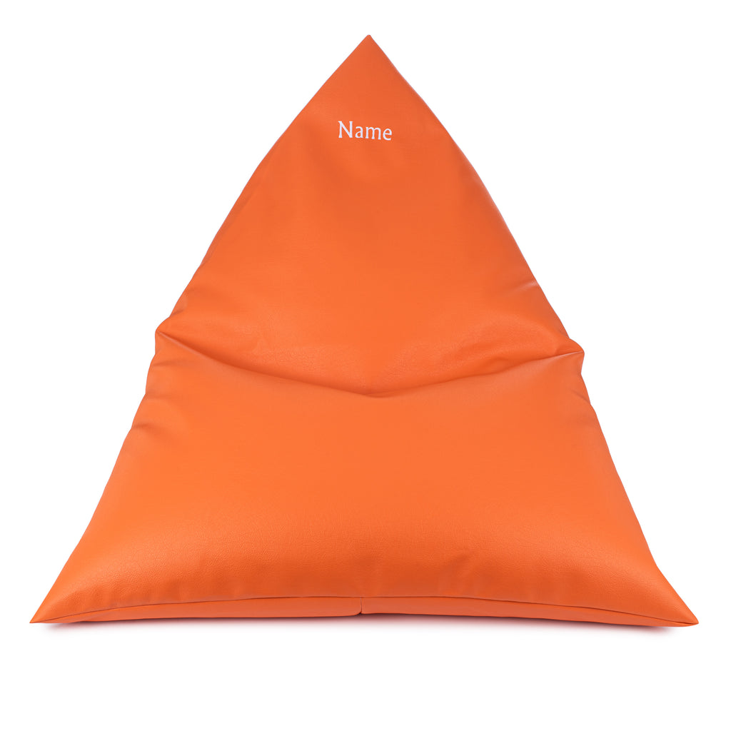Personalised Orange Leatherette Triangle Garden Bean Bag