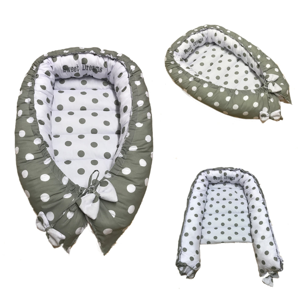 Personalised Grey Polka Dot Baby Sleep Nest Pod