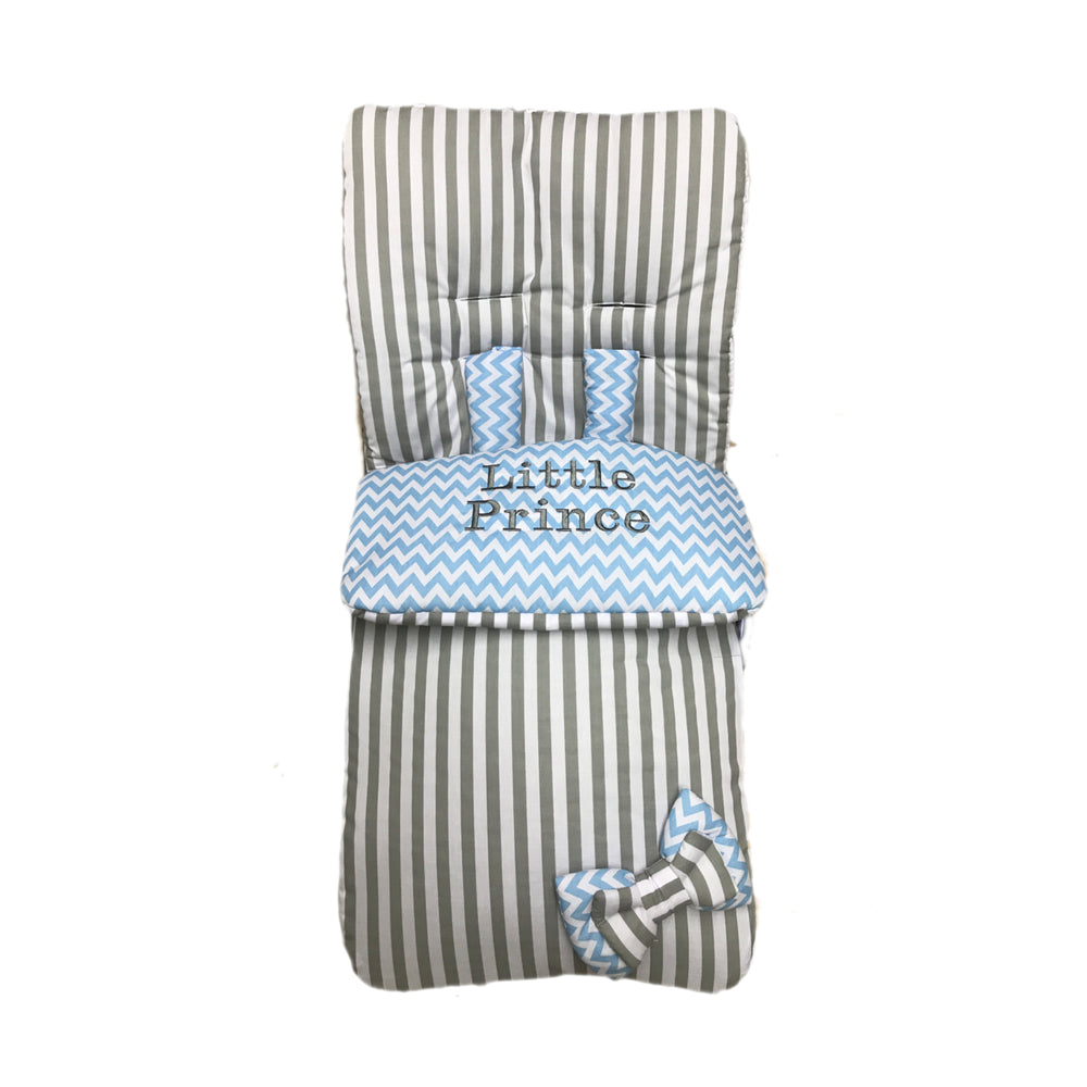 grey stripe blue zig zag footmuff web
