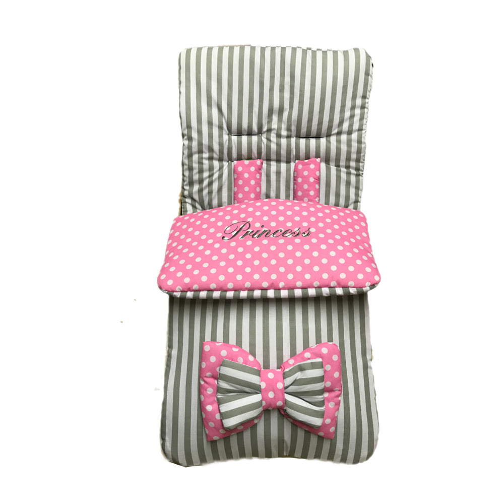 grey stripe pink polka footmuff web
