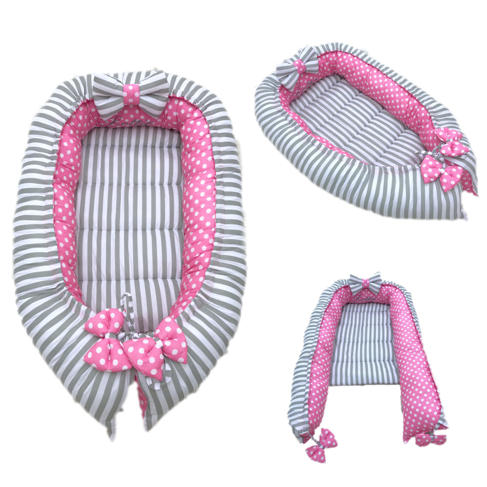 Personalised Grey Stripe And Pink Polka Dot Baby Sleep Nest Pod